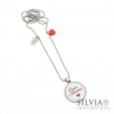 """Collana lunga catena acciaio con frase """"Super Mamma"""" cuore rosso e bambina"""