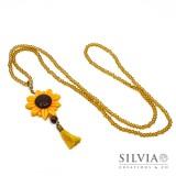 Collana lunga cristalli con girasole giallo e nappina