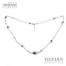Collana lunga con perle Swarovski color bianco e grigio catena acciaio