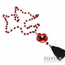 Collana lunga cristalli con fiore rosso e nappina