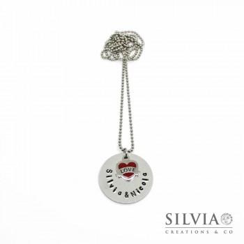 Collana lunga catena acciaio con disco in alluminio e cuore con scritta love