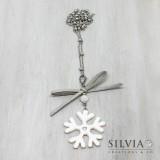 Collana lunga con catena acciaio e fiocco di neve bianco