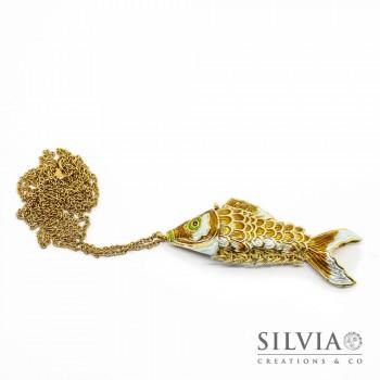 Collana lunga catena color oro con pesce smaltato snodato