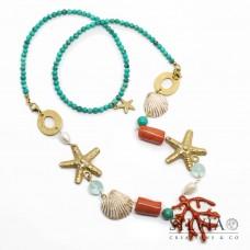 Collana 2 in 1 con ciondolo corallo smaltato stelle marine oro conchiglie e turchese
