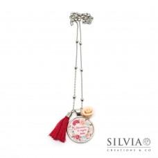 """Collana lunga catena acciaio con frase """"Mamma ti voglio bene"""" e fiori"""