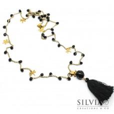 Collana filo oro ad uncinetto con cristalli neri e charms