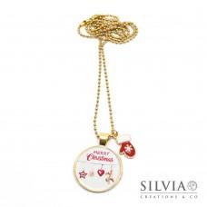 Collana lunga catena acciaio color oro con ciondolo Merry Christmas