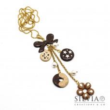 Collana lunga catena oro con biscotti e fiocco