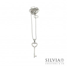 Collana lunga con chiave a forma di cuore in acciaio da 50mm