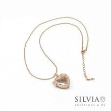 Collana ciondolo portafoto a cuore con strass oro rosato 22 mm