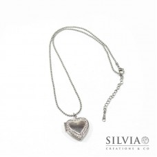 Collana ciondolo portafoto a cuore con strass rodio 22 mm