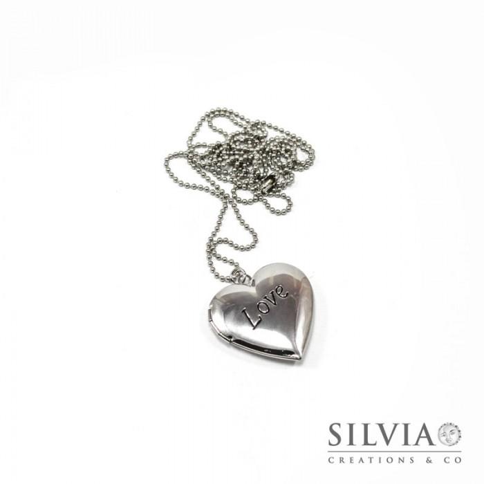 53c32f5ed2 Collana portafoto a cuore love rodio - silviacreationsandco
