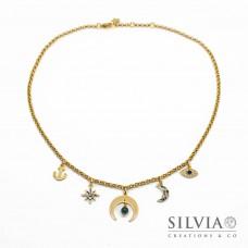 Collana girocollo talismano oro in acciaio con luna rovesciata e charms