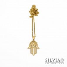 Collana lunga talismano oro in acciaio con ciondolo a forma di mano di Fatima