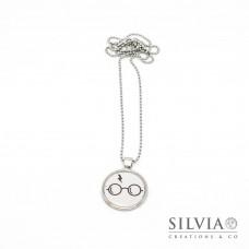 Collana lunga Harry Potter occhiali e cicatrice da 25 mm