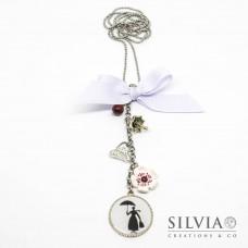 Collana lunga catena acciaio sagoma di Mary Poppins con fiocco e charms