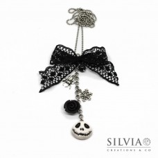 Collana lunga catena acciaio Jack Halloween inspired con charms