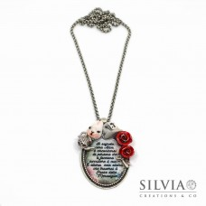 Collana lunghezza media pendente ovale con frase e creazioni a tema Alice