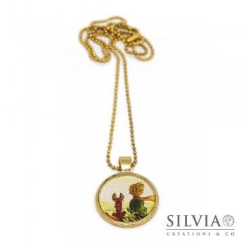 Collana lunga catena acciaio color oro con piccolo principe e volpe