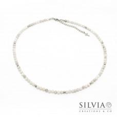 Collana uomo con perle di agata bianca da 4 mm e perle acciaio