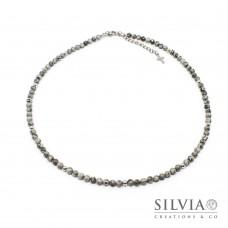 Collana uomo con perle di diaspro picasso da 4 mm e perle acciaio