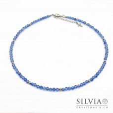 Collana uomo con perle di tormalina blu da 4 mm e perle acciaio
