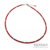 Collana uomo con perle di corallo rosso da 4 mm e perle acciaio