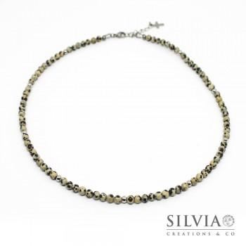Collana uomo con perle di diaspro dalmata da 4 mm e perle acciaio