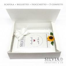Confezione scatola cornice pelle bianca per bomboniere 200x160x50mm