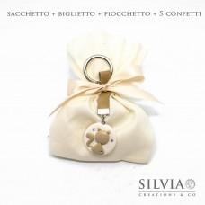 Confezione completa sacchetto per bomboniera in cotone avorio 12x15 cm