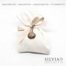 Confezione completa sacchetto per bomboniera in cotone bianco 12x15 cm