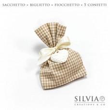 Confezione completa sacchetto beige e bianco da 12x15 cm