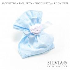 Confezione completa sacchetto per bomboniera in sangallo azzurro 12x15 cm