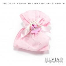 Confezione completa sacchetto per bomboniera in sangallo rosa 12x15 cm