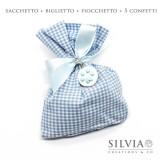 Confezione completa sacchetto azzurro e bianco da 12x15 cm