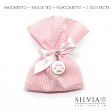Confezione completa sacchetto rosa e bianco da 12x15 cm
