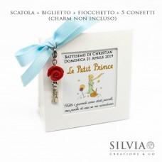 Confezione cornice sacchetto bianca per bomboniere + charm piccolo principe