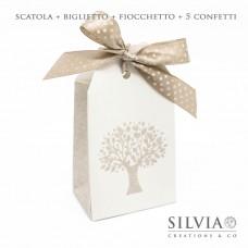 Confezione scatolina a forma di tag con albero della vita per bomboniere