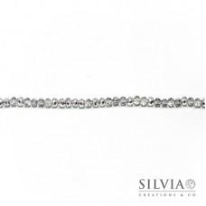 Cristalli a rondella argento trasparente 6x4 mm
