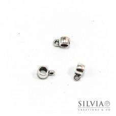 Distanziatore con asola porta pendente argento antico 9x4x4 mm