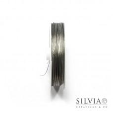 Cavetto in acciaio rivestito di nylon argento 0.45 mm x 50m