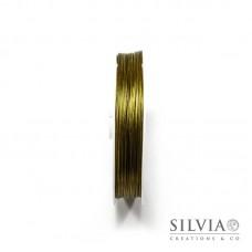 Cavetto in acciaio rivestito di nylon oro 0.45 mm x 50m