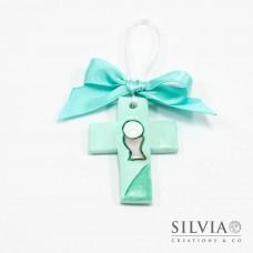 Formella a forma di croce azzurro Tiffany per comunione