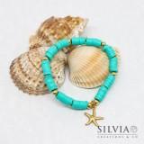 Bracciale elastico con perline heishi azzurro turchese e stella marina oro