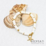 Bracciale elastico con perline heishi bianche e stella marina oro