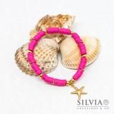 Bracciale elastico con perline heishi fucsia e stella marina oro