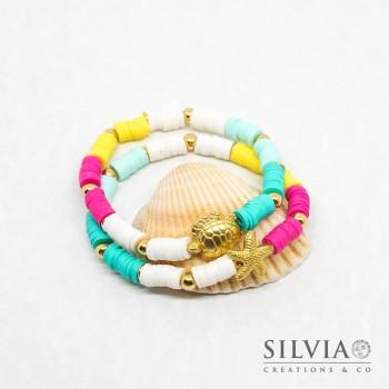 Coppia di bracciali heishi colorate tartaruga e stella marina oro