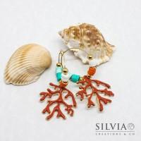 Orecchini a cerchio con perline heishi e rametto grande effetto corallo smaltato