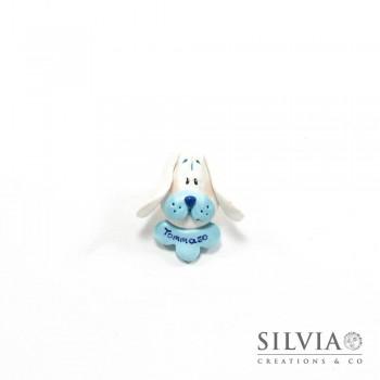 Magnete con cane bianco e azzurro