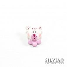 Magnete con orso bianco e rosa
